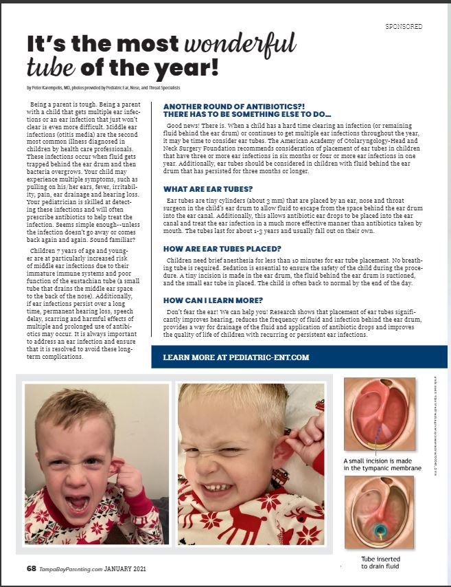 Dr. Peter S. Karempelis' article featured in January's Tampa Bay Parenting Magazine